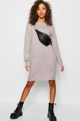 boohoo Crew Neck Long Sleeve Knitted Dress