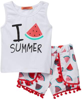 Funkyberry Watermelon Top & Shorts Set (Baby & Toddler Girls)