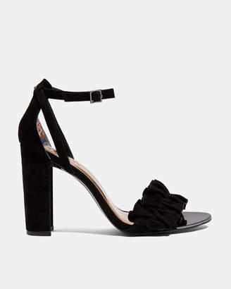 Ted Baker FLOUNCY Ruffle detail heeled leather sandals