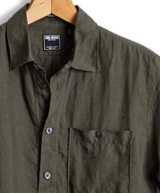 Todd Snyder Short Sleeve Linen Popover Shirt in Olive