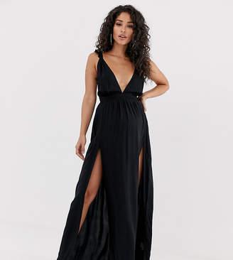 c2e37ccbd76 Asos DESIGN Maternity beach maxi dress with frill strap   plunge neck in  black