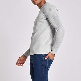 River Island Grey 'R96' slim fit crew neck sweater