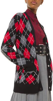 Michael Kors Studded Argyle Boyfriend Cardigan