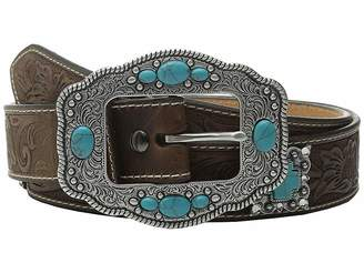 Ariat Floral Embossed Turquoise Cross Concho Belt Women's Belts