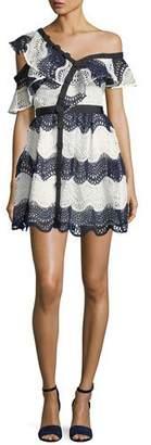 Self-Portrait Wave Lace Frill One-Shoulder Cocktail Mini Dress