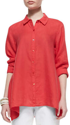 Eileen Fisher Button-Front Organic Linen Boxy Shirt, Plus Size