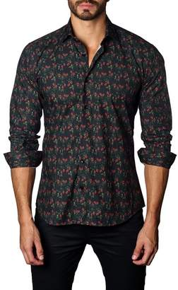 Jared Lang Floral Print Trim Fit Shirt