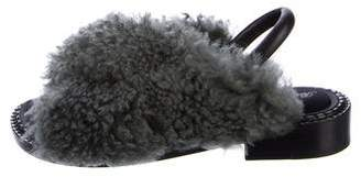 Robert Clergerie Fur-Trimmed Slingback Sandals