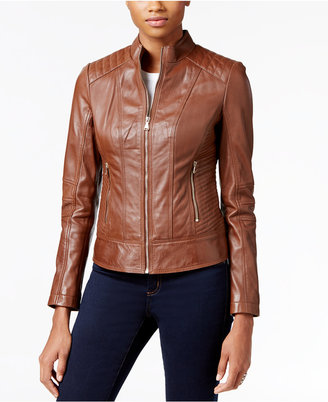 GUESS Leather Bomber Jacket $380 thestylecure.com