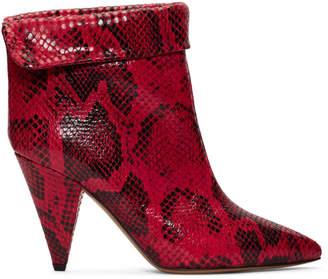 Isabel Marant Red Snake Lisbo Boots