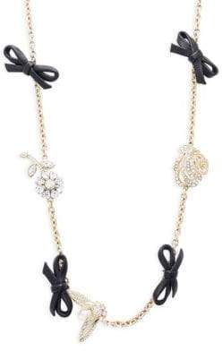 Valentino Leather Bow and Crystal Station Necklace