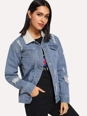b6576ee125 Shein Ripped Denim Jacket With Borg Collar
