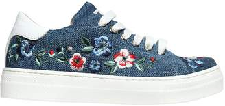 Ermanno Scervino Embroidered Denim & Leather Sneakers