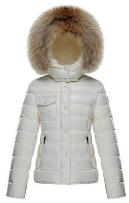 Moncler Armoise Quilted Hooded Coat w/ Fur Trim, Size 8-14