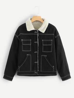 SheinShein Stitch Detail Shearling Lined Denim Jacket With Borg Collar