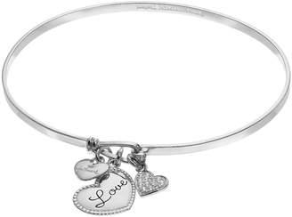 "Hallmark Sterling Silver Cubic Zirconia ""Love"" & Heart Charm Bangle Bracelet"