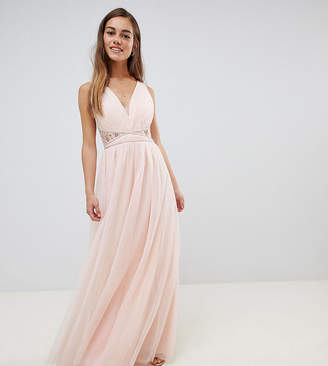 afa45c8d639 Little Mistress Petite embellished waist maxi dress with lace back in nude