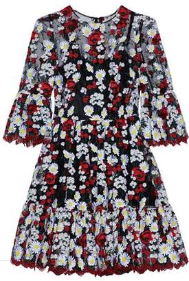 Dolce & Gabbana Gathered Embroidered Tulle Mini Dress