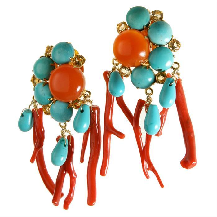 Turquoise and Branch Coral Earrings by Bounkit