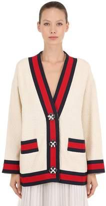 Gucci Tweed Cardigan Jacket W/ Jewel Buttons