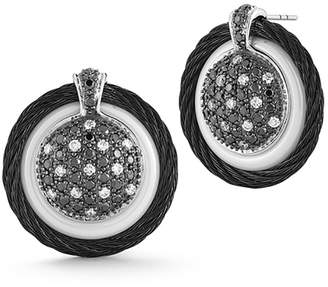 Alor 18k Diamond Pave Cable Circle Drop Earrings