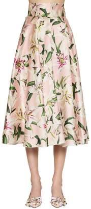 Dolce & Gabbana High Waist Printed Shantung Midi Skirt