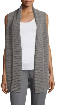 Lafayette 148 New York Mixed Stitch Shawl Collar Vest $348 thestylecure.com