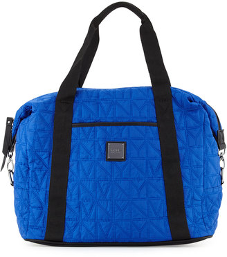 Nicole Miller City Life Quilted Large Duffle Bag, Azure Blue/Black $95 thestylecure.com