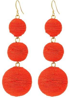 Kenneth Jay Lane Triple Graduated Coral Thread Wrapped Balls Fishhook Top Ear Earrings Earring