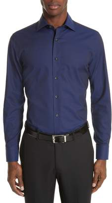 Canali Trim Fit Geometric Dress Shirt