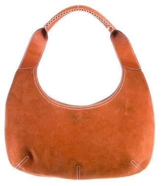 Salvatore Ferragamo Leather-Trimmed Suede Hobo