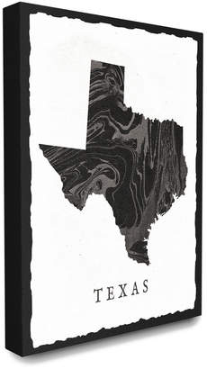 Stupell The Home Decor Collection Black And Grey Marbled Paper Texas State Silhouette