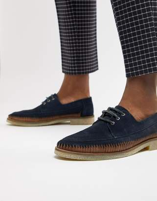 Asos Design DESIGN lace up shoes in navy suede with leather woven detail