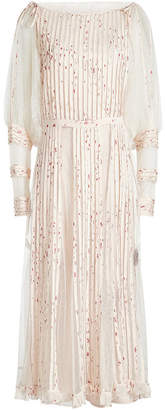 RED Valentino Printed Dress with Tulle and Silk