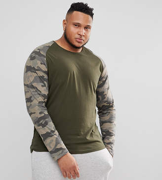 ONLY & SONS PLUS Long Sleeve T-Shirt With Camo Sleeves