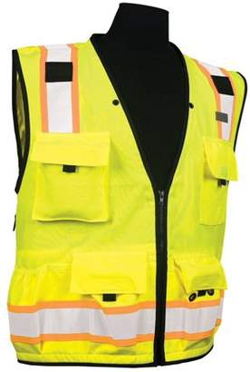 Caltrans Series Polyester/Ultra-Cool Mesh, Class 2 Lime - Medium, Zipper front closure By ML Kishigo