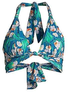 PatBO Women's Floral Halter Bikini Top