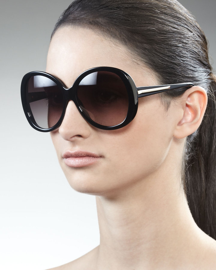 Givenchy Rounded Resin Sunglasses, Black