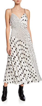 Jill Stuart Mixed Polka Dot Print Sleeveless Satin Charmeuse Dress