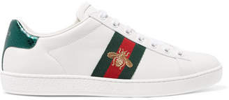 Gucci - Ace Watersnake-trimmed Embroidered Leather Sneakers - White $595 thestylecure.com