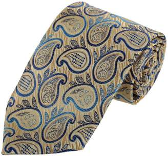 BEIGE Red Blue Patterned Wedding Neck Tie Woven Microfiber Neck Tie For Wedding By Dan Smith