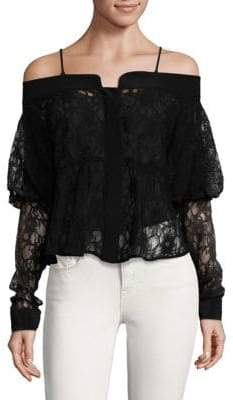 Ronny Kobo Silk Lace Off-The-Shoulder Top