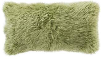 Pine Cone Hill Spring Green Combed Genuine Shearling Accent Pillow
