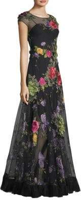 Basix II Black Label Floral Applique Gown