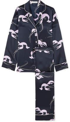 Olivia von Halle - Lila Printed Silk-satin Pajama Set - Navy