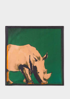 Paul Smith Men's Dark Green 'Safari Animals' Print Silk Pocket Square