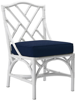 David Francis Furniture Chippendale Outdoor Side Chair - Navy