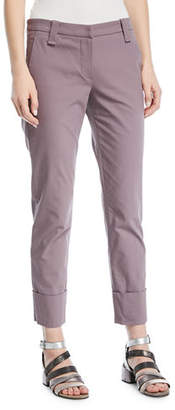 Brunello Cucinelli Straight-Leg Crop Barrel-Cuff Cotton Twill Pants