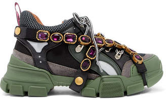 Gucci Flashtrek Embellished Logo-embossed Mesh, Leather And Suede Sneakers - Forest green