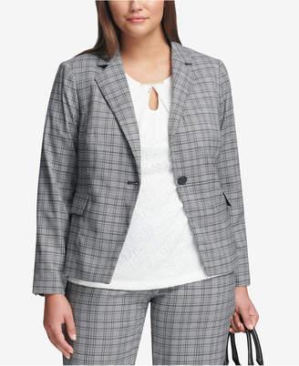 Calvin Klein Plus Size Plaid Single-Button Blazer